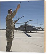 Pararescuemen Conducts A Communications Wood Print
