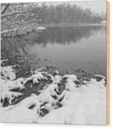 Snow Covered Landscapes In Belmont North Carolina Along Catawba  Wood Print