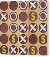 Tic Tac Toe Wooden Board Generated Seamless Texture Wood Print