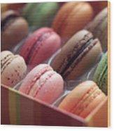French Macaron Rainbow Wood Print