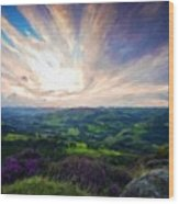 Nature Landscape Oil Painting On Canvas Wood Print