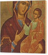 Madonna Enthroned Wood Print
