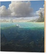 128098 Artwork Sea Fish Clouds Rock Formation Split View Wood Print