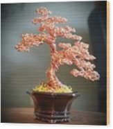 #129 Copper Wire Tree Sculpture Wood Print