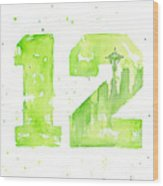 12th Man Seahawks Art Go Hawks Wood Print