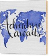 12x16 Adventure Awaits Blue Map Art Wood Print