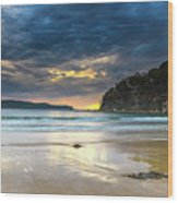 Cloudy Sunrise Seascape Wood Print