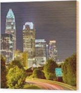 Downtown Of Charlotte  North Carolina Skyline Wood Print