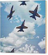 Navy Blue Angels Wood Print