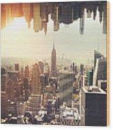 New York Midtown Skyline - Aerial View Wood Print