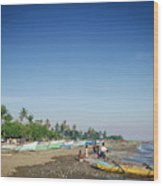 Traditional Fishing Boats On Dili Beach In East Timor Leste Wood Print