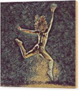 1307s-dancer Leap Fit Black Woman Bare And Free Wood Print
