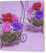 A Gift Of Preservrd Flower And Clay Flower Arrangement, Colorful Wood Print