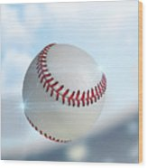 Ball Flying Through The Air Wood Print