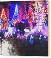 Christmas Light Bokeh At Daniel Stowe Gardens Belmont North Caro Wood Print