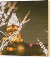 Christmas Lights Holiday Decorations Around Charlotte North Caro Wood Print
