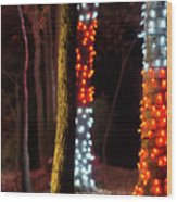 Christmas Season Decorations And Lights At Gardens Wood Print
