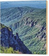 Hawksbill Mountain At Linville Gorge With Table Rock Mountain La Wood Print