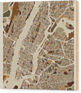 New York City Street Map Wood Print