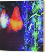 Christmas Season Decorations And Lights At Gardens Wood Print