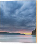 Cloudy Sunrise Seascape Wood Print