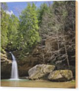 Hocking Hills Waterfall Wood Print