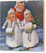 American Christmas Card Wood Print