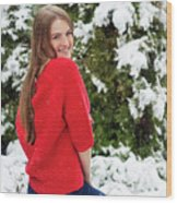 Beautiful Young Girl Model In Winter In A Parked Park. In A Red Sweater. Wood Print