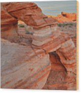 First Light On Valley Of Fire Wood Print
