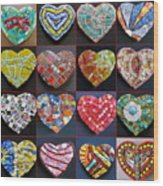 16 Hearts Wood Print