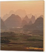 Karst Mountains Scenery In Sunset Wood Print
