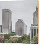 Providence Rhode Island City Skyline In October 2017 Wood Print