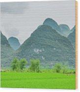 The Beautiful Karst Rural Scenery Wood Print