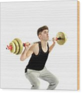 18 Year Old Teenage Boy Exercising With Weights Wood Print