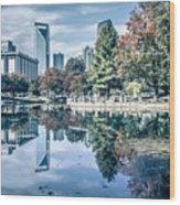 Charlotte North Carolina Cityscape During Autumn Season Wood Print