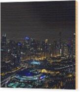 Chicago Night Skyline Aerial Photo Wood Print