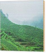 Mountain Scenery In Mist Wood Print