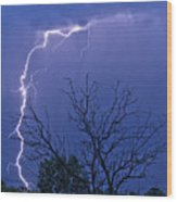 17 Street To Hygiene Lightning Strike. Wood Print