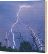 17th Street Lightning Strike Fine Art Photo Wood Print
