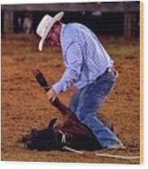 Steer Roping Wood Print