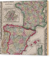 1800s France, Spain And Portugal County Map Color Wood Print