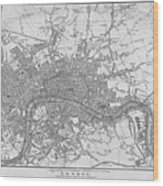 1800s London Map Black And White London England Wood Print