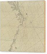 1807 North America Coastline Map Wood Print