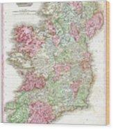 1818 Pinkerton Map Of Ireland Wood Print