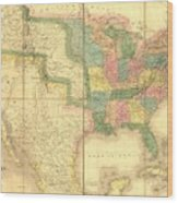 1839 Map Showing Us-mexican Boundary Wood Print by Everett