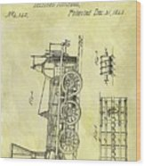 1845 Locomotive Patent Wood Print