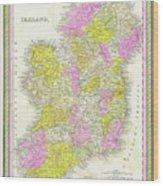 1850 Vintage Map Of Ireland Wood Print
