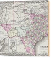 1855 Texas Map Wood Print