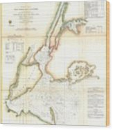 1857 Coast Survey Map Of New York City And Harbor Wood Print