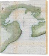 1857  Coast Survey Map Of St. Louis Bay And Shieldsboro Harbor, Mississippi  Wood Print